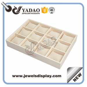 Wholesale custom cream color PU leatherette jewelry and watch displays holder for shop counter showcase leather bangle trays
