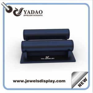 Wholesale custom logo MDF wrapped with blue PU leather bangle displays for shop window and counter exhibitor bracelet showcase holder