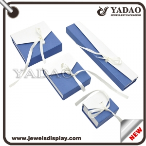 Wholesale custom newest design white and blue color cardboard packing boxes with ribbon for jewellery storage paper gift box