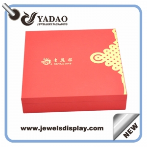 Wholesale custom plastic covered with red leatherette paper bracelet jewelry cases for shop counter and window exhibitor bangle box