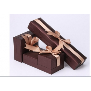 Wholesale jewelry Packaging Paper Gift Box PU leather Jewelry Packaging Box for Ring Earring Pendant Jewelry Display jewelry boxes