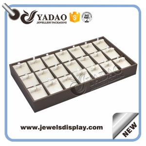 Wholesale jewelry display earring tray with compartments wood lining leatherette cover