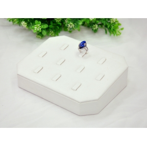 Wholesale price White PU leather and wood ring display tray
