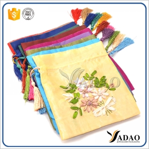 Wholesale retro chinese style colorful custom small satin pouch with drawstrings for jewelry packaging