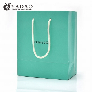 Yadao CMYK paper bag spring color shopping bag for gift jewelry packaging bag with white rope handle