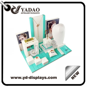 Yadao Spring Series custom made white and mint fresh leatherette  jewelry display set for jewelry counters and showcase.