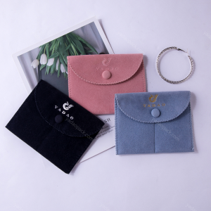 Yadao classical button pouch velvet packaging bag jewelry pouch with divider inside and free logo finished