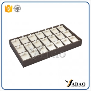 Yadao custom designable wonderful hand-making stackable mdf+pu leather jewelry display tray for earrings