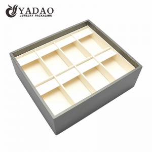 Yadao custom stackable PU leather jewellery showcase trays earring jewelry trays