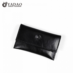 Yadao noble pu leather jewelry pouch black packaging pouch with snap closure