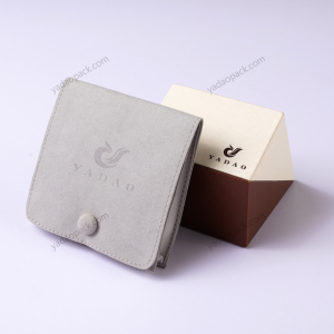 Yadao square gusset jewelry pouch microfiber packaging bag button snap pouch with free debossed logo