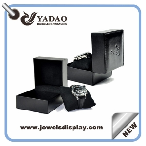 black plastic packaging watch box stitching finish in leather paper cover