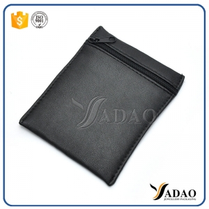 black pu leather bag with zipper closure customize logo printing packaging bag pu leather high quality finish