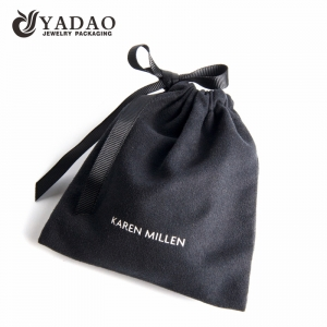 black suede pouch jewelry packaging pouch bag with ribbon string closure