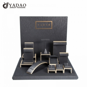 brand jewelry display set wooden displays coated with pu leather for jewelry window counter