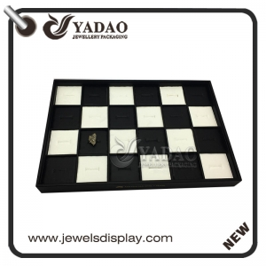 charming chess design wooden jewelry display ring tray pu leather black&white combination ring display tray