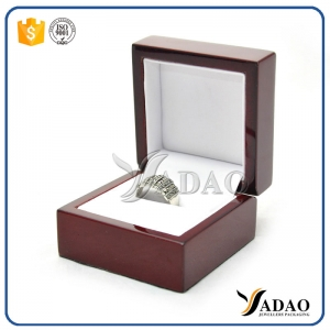 cherry color glossy lacquer wooden ring box jewelry packaging soft white pu leather slot insert for rings storage box