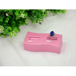 china supplier special design wooden leatherette jewellery double ring display holder for gemstone ring  display