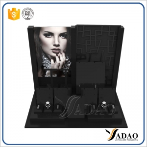 classical customize black acrylic jewelry display window jewelry counter display rings earrings pendants acrylic display