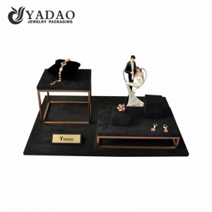 compact delicate simple but luxury dark color metal elements wedding window display sets