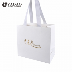 custom fancy paper shopping bag packaging paper bag with ribbon handle