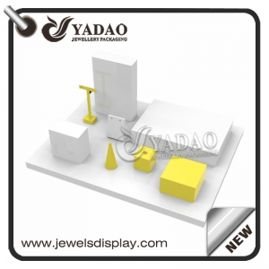 customize colorful glossy lacquer wooden display jewelry shop counter display window jewelry display stands