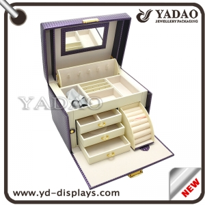 customize useful wooden packaging box case jewelry storage display wooden boxcase purple color