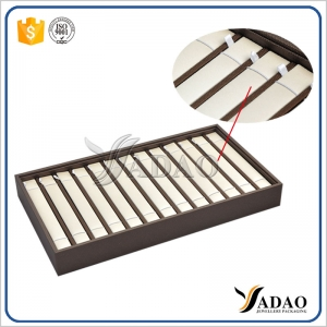 customize wooden jewelry display tray stackable tray display bracelet movable insert bracelet display tray pu leather cover