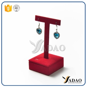 delicate wholesale customized OEM/ ODM jewelry display stands mdf coated with microfiber/velvet/pu leather for earring