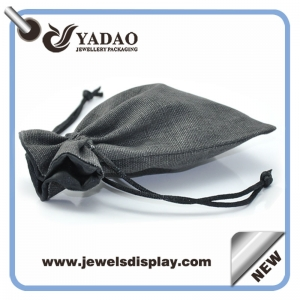 Exquisite handmade gray linen jewelry pouch with costomized logo for earring ring bracelet necklace pendant watch and tea