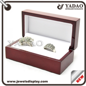 glossy lacquer painting wooden jewelry box packaging ring box wooden ring box slot ring insert