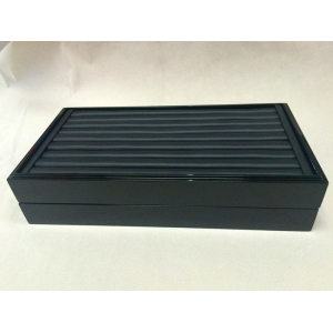 glossy wooden lacquer frame jewelry display tray pu leather slot ring display tray stackable ring tray
