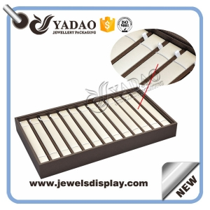 handmade stackable wooden jewelry display bracelet display tray pu leather cover wholesale