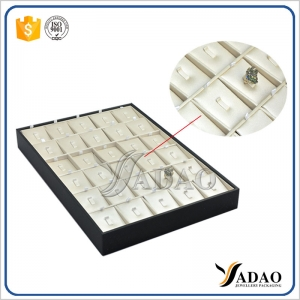 high quality handmade stackable jewelry tray display rings wooden ring display tray with movable clip insert for rings