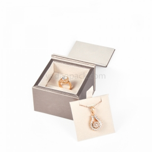 jewelry box for pendant and ring/double use set box with flap