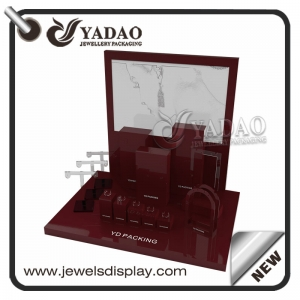 luxury customize acrylic jewelry displays window shop jewelry hign end finish jewelry display set acrylic displays ring necklace pendant stand