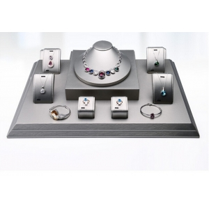 luxury pu leather wooden jewelry showcase display set jewelry counter display stands for jewelry store&jewelry show