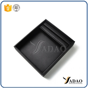 new arrival convenient small good quality mdf velvet inside leather outside empty trays for jewellery display