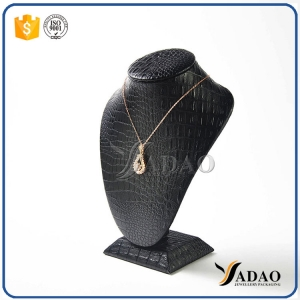 normal custom MOQ wholesale special texture pu leatherette mdf necklace bust for necklace/pendant