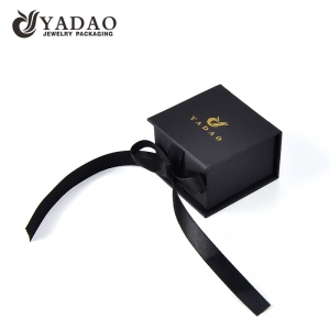 paper box ring box jewelry with ribbon and customized color logo