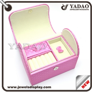 pink color leather cover wooden jewelry storage case wooden packaging box with multi-function inserts for rings, earring necklace jewels storage