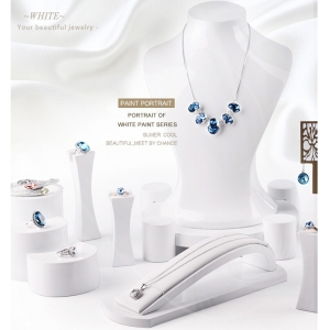 pure white glossy lacquer wooden jewelry shop window jewelry display set standing resin necklace bust