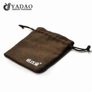 simple durable long-lasting  wholesale normal but luxury handmade cheap jewelry pouch in linen/velvet/fabric material.