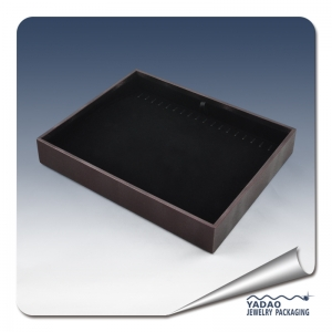 wholesale black velvet and leather jewelry display tray for jewelry display show by factory price