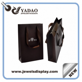 China 2015 fashion kind of jewelry brown shopping bag paper bag for jewelry with logo and drawstring made in China factory