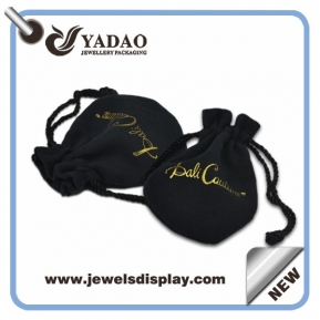 China 2015 new design black velvet pouch for jewelry package with drawstring and logo made in China factory