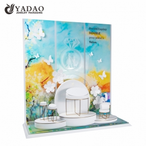China metal style new customized dreamlike luxury elegance  lacquered acrylic jewelry  fair display sets factory