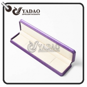 China 220x55x30mm plastic braclet box covered with leatherette and the inner material is soft velvet with free logo printing service. factory
