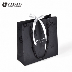 China Black fashion shopping paper packaging bag for jewelry and watch packing with free logo ,and color customized factory