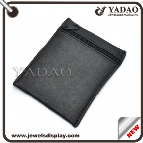 China Black leather custom size simple jewelry pouch with zipper for storage factory